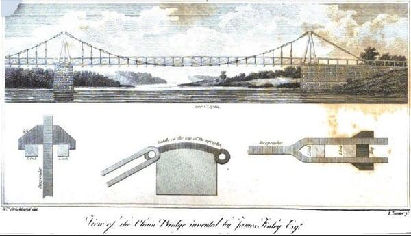 Grabado de Alzado de puente colgante del Siglo XIX