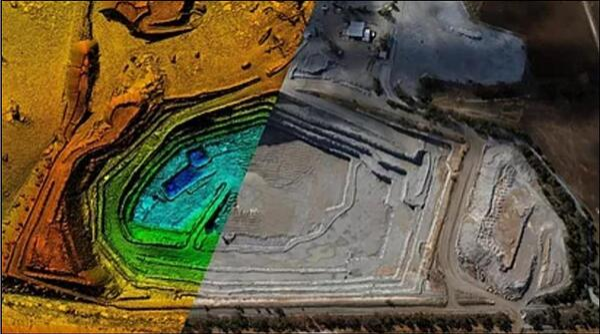 Vista con dron: mina a cielo abierto