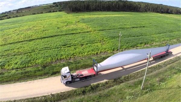 transporte de elices de aerogeneradores