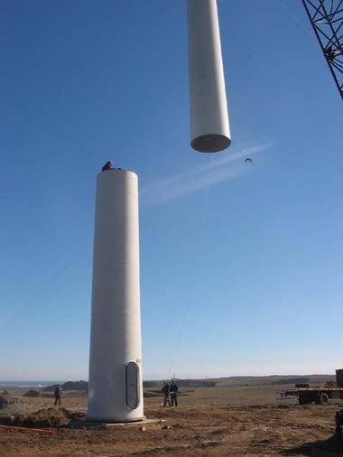 montar aerogeneradores con gruas